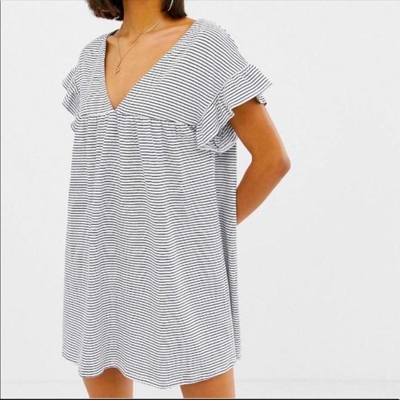 ASOS Navy White Slub Smock Dress Reversible SZ 10